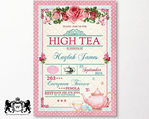 Church tea party invitation for Tea party menu template
