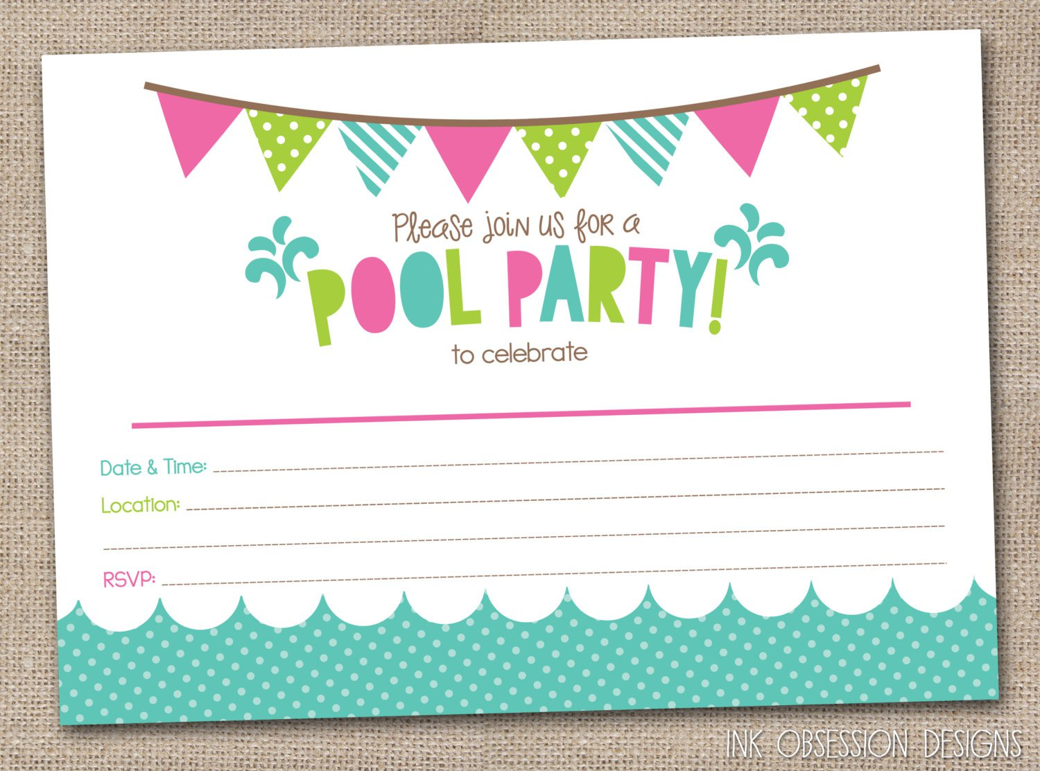 Teen Birthday Party Invitations Blank