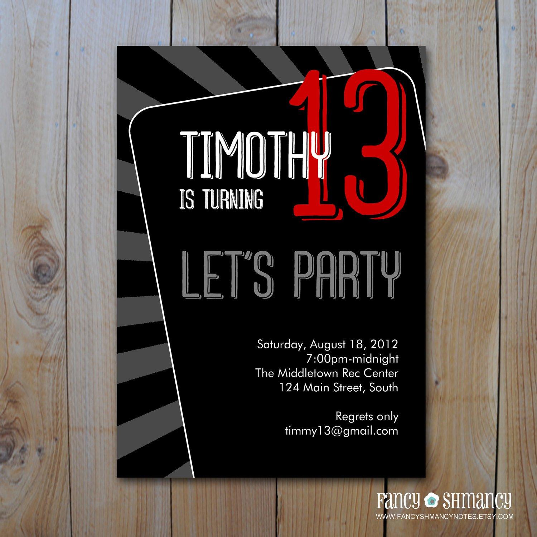 Teen Boy Birthday Invitation Templates