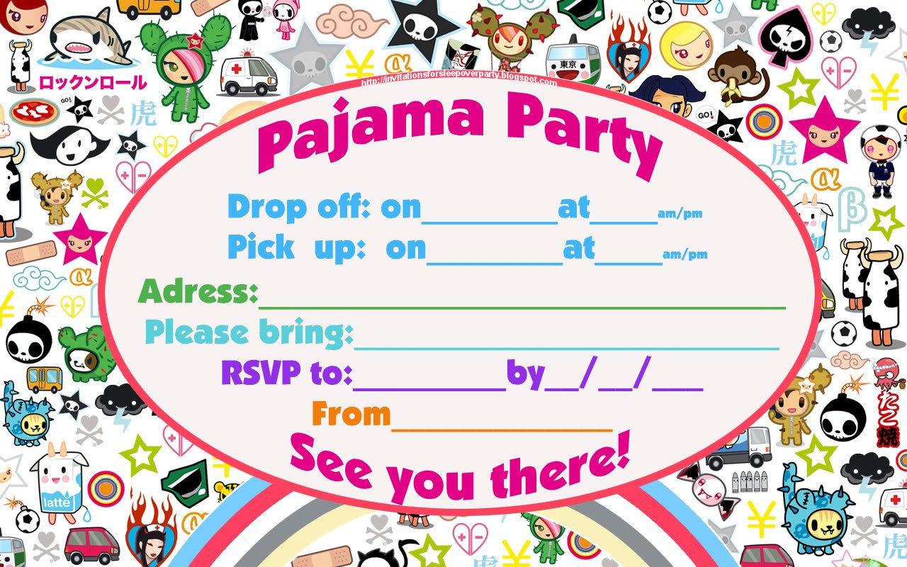 birthday party sleepover invitations