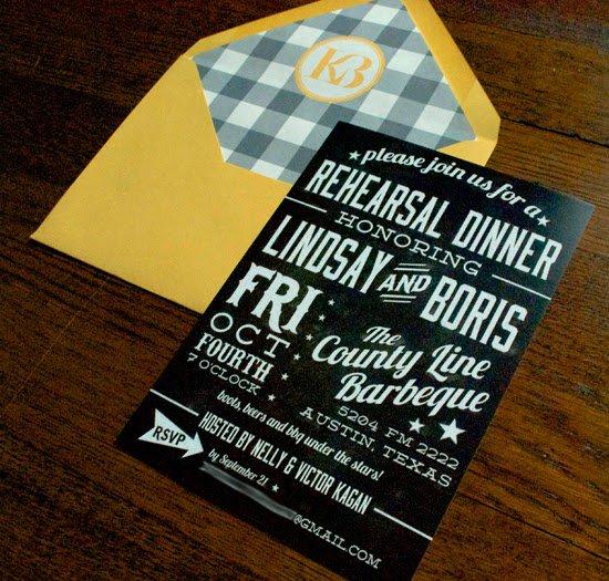 Texas Bbq Rehearsal Dinner Invitations