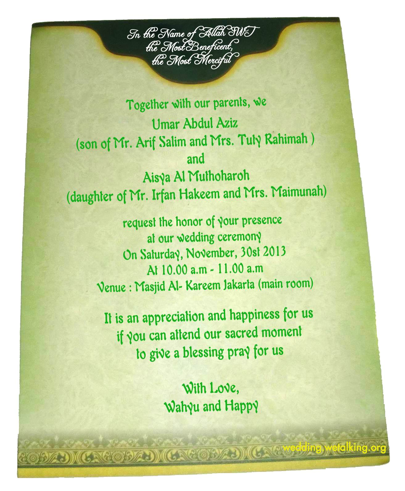 Invitation Wording Samples