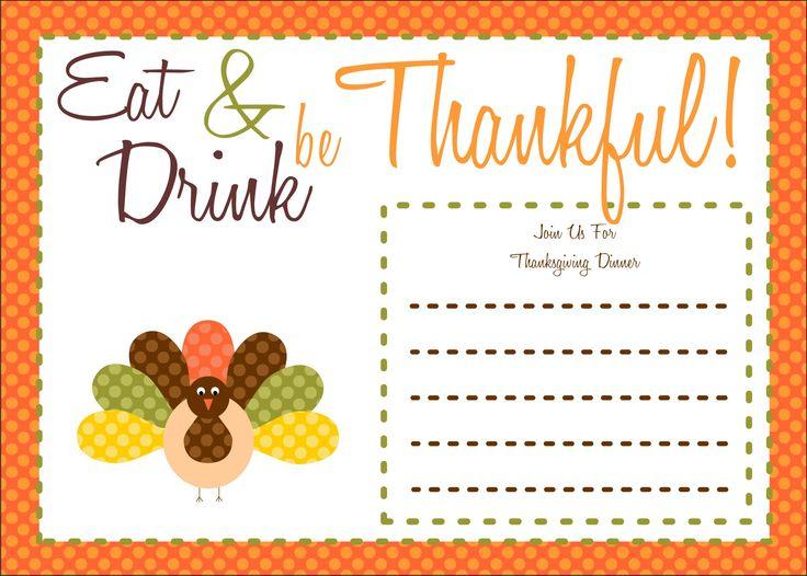 Thanksgiving Invitations Free Printable