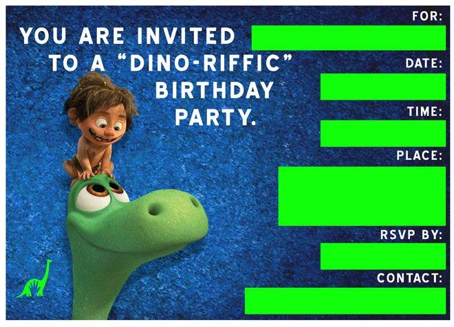 The Good Dinosaur Invitations Free Printable