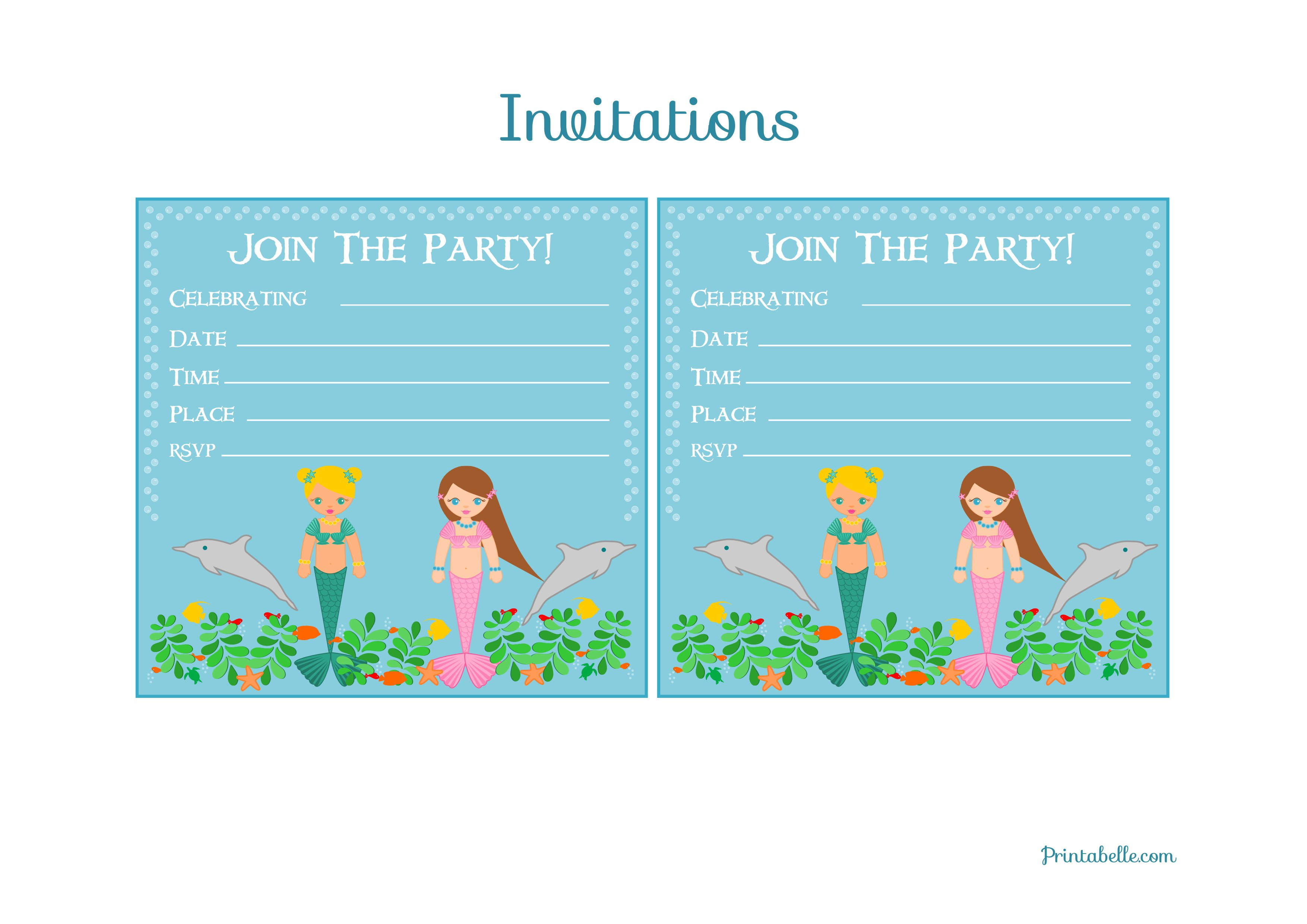 Mermaid Printable Party Invitations