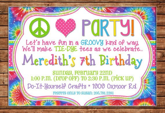 Tye Dye Invitations