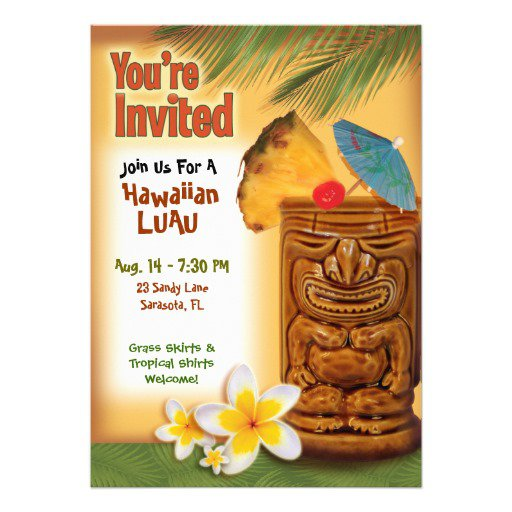 Tiki Party Invitation Template