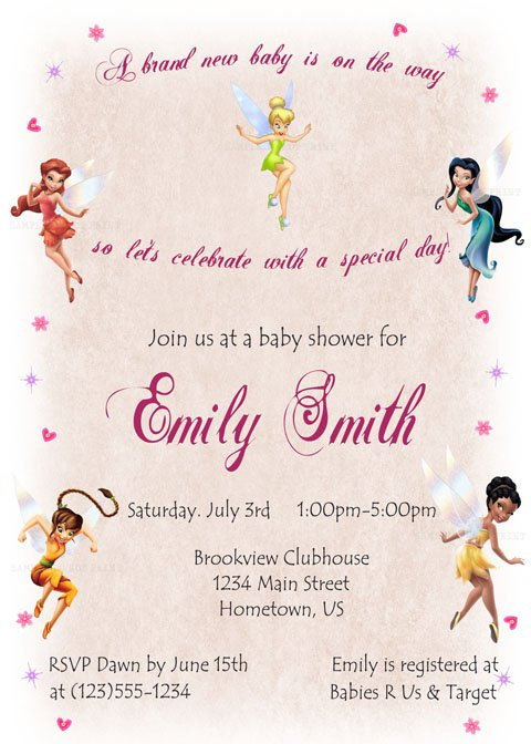 tinkerbell baby shower invitations, Baby shower