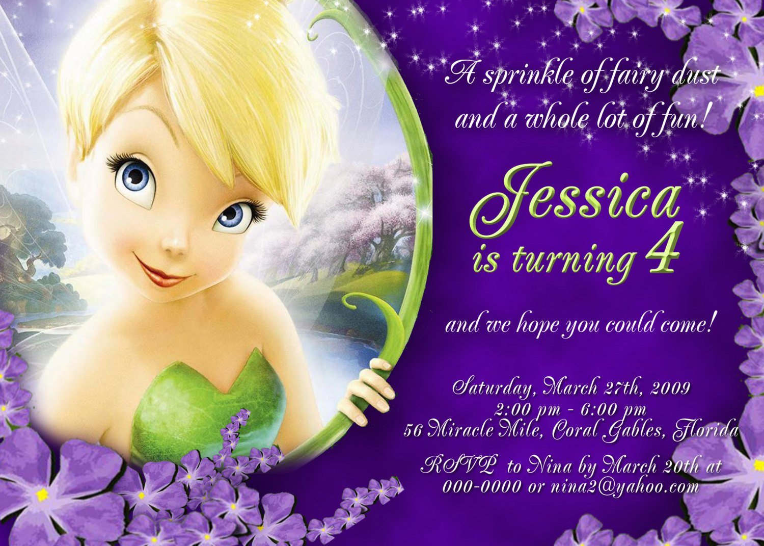 Tinkerbell Birthday Invitations Free