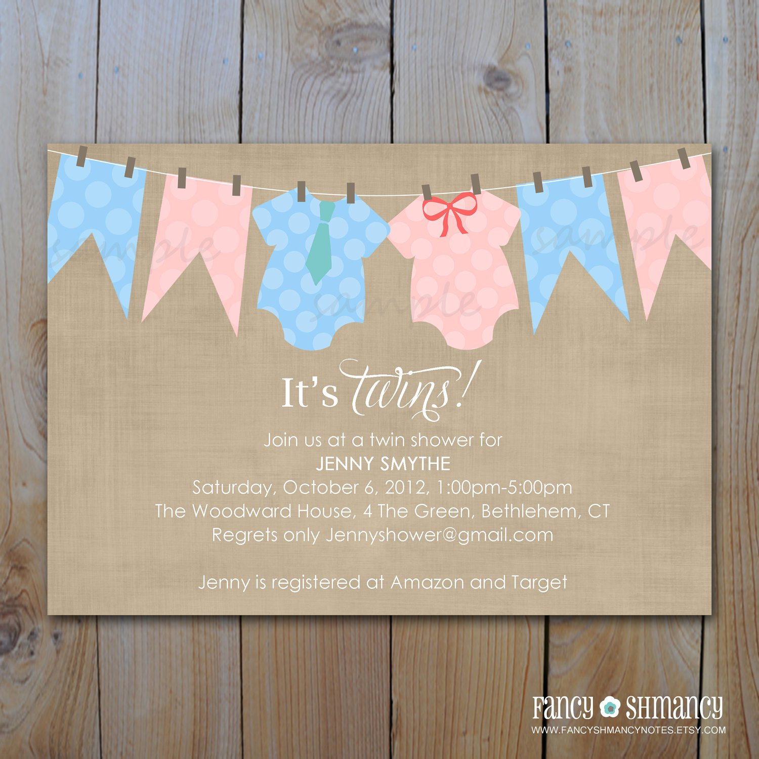 Twin Baby Shower Invitations Printable