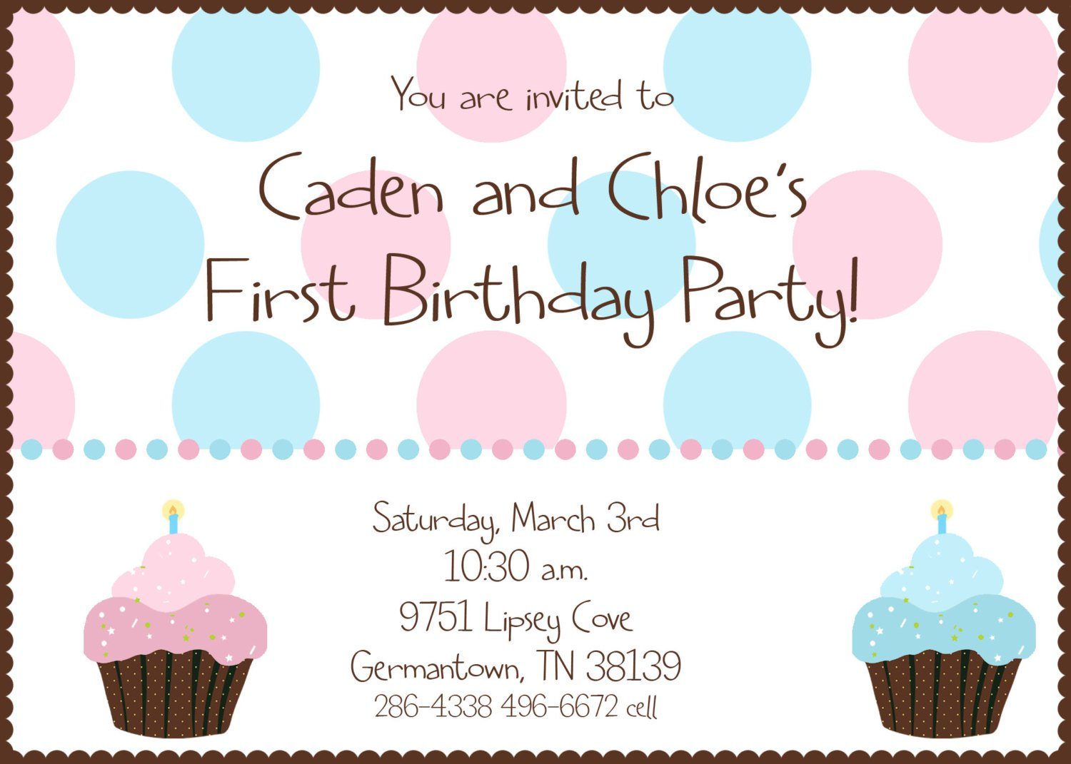 Twin Boy Girl Birthday Invitations