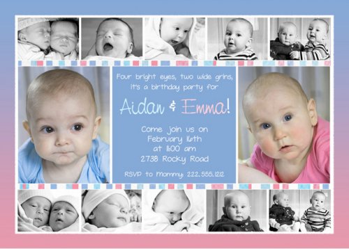 Twin boys birthday invitations twin boy girl first birthday invitations 500 x 358 filmwisefo Gallery