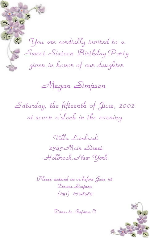 Unique Sweet 16 Invitation Wording