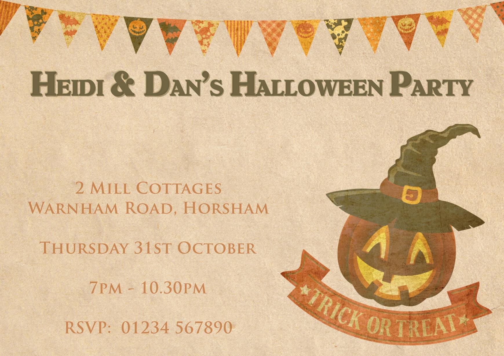 Vintage Halloween Party Invitations