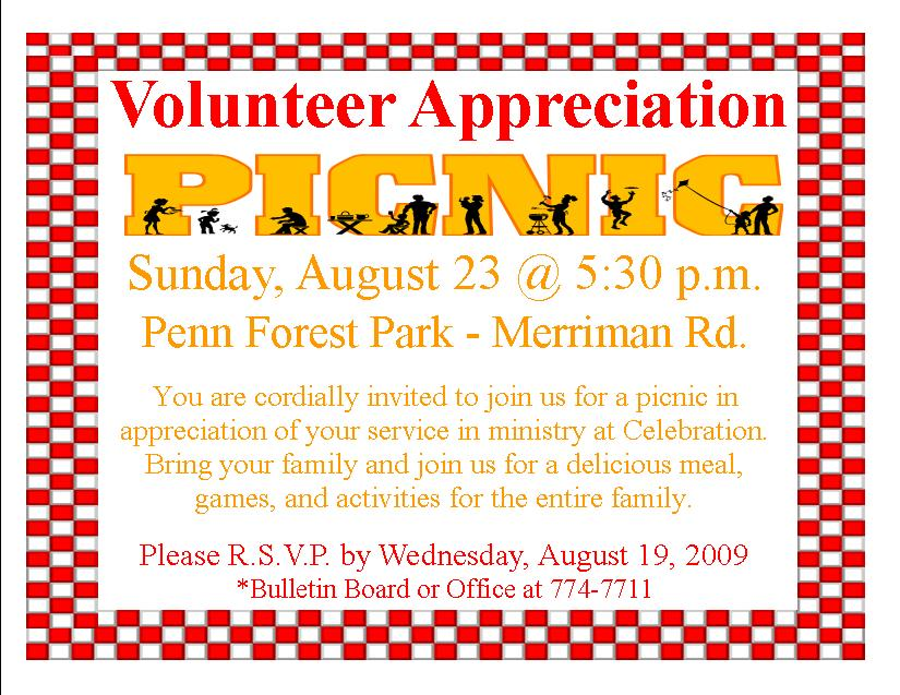 Volunteer Appreciation Luncheon Invitation Wording