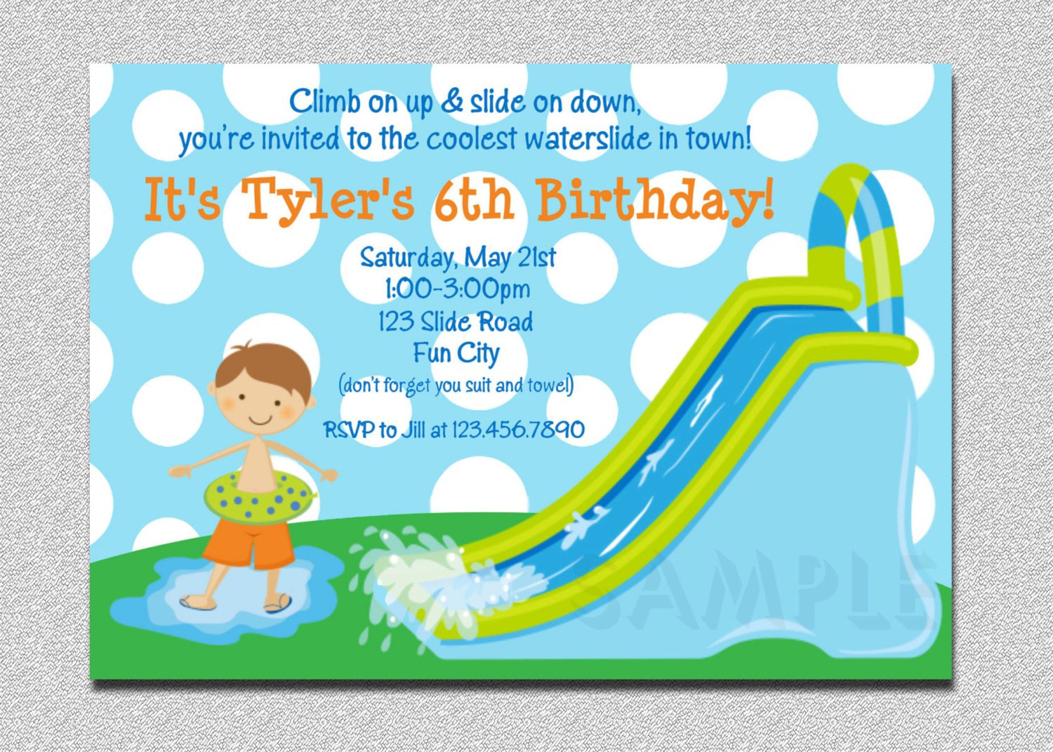 Water Park Invitations Printable