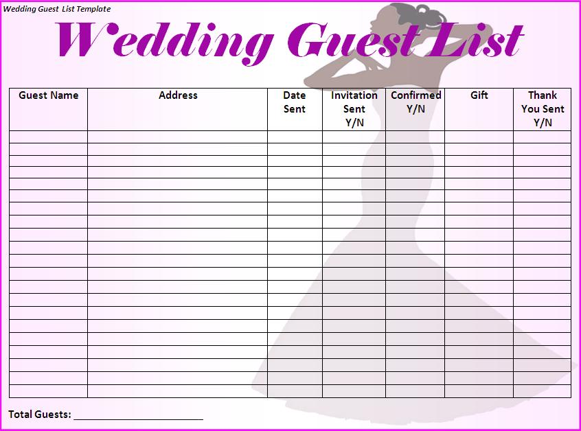 It's just a graphic of Handy Wedding Guest List Printable
