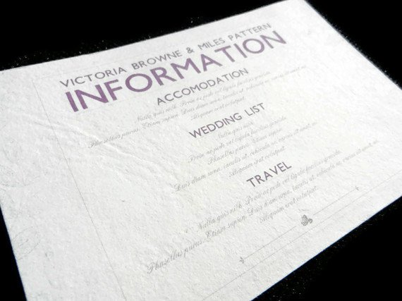 Wedding Invitation Information Insert