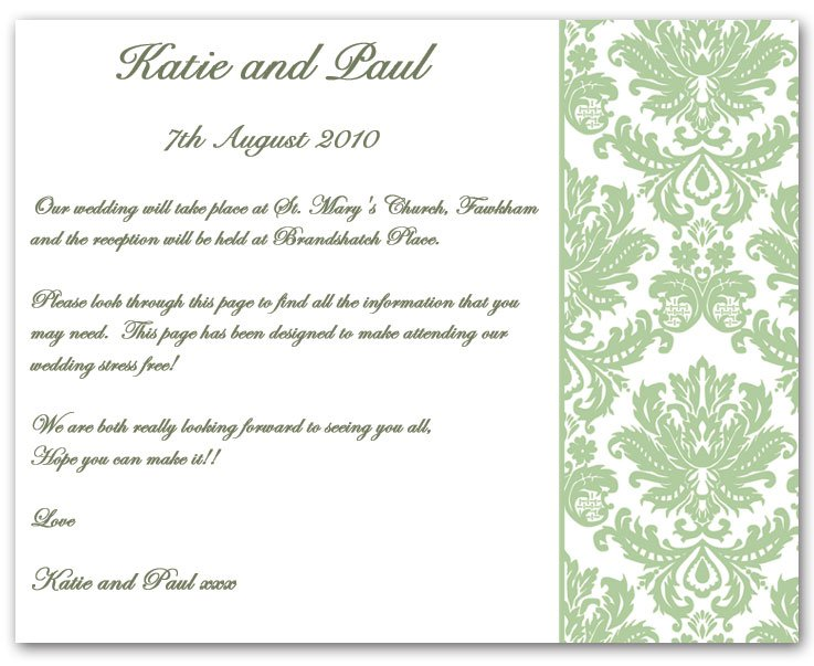 Wedding Invitation Inserts Examples
