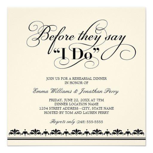 Wedding Rehearsal Dinner Invitation Wording