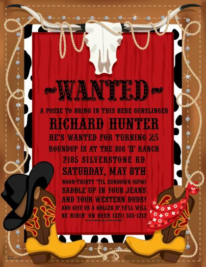 Western Party Invitation Templates