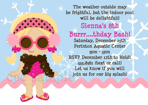 Winter Pool Party Invitation Template