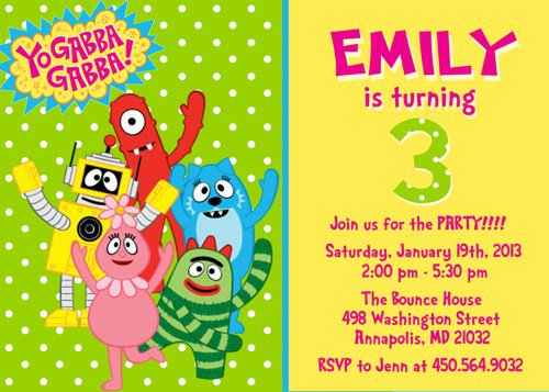 gabba gabba printable invitations free, Wedding invitations