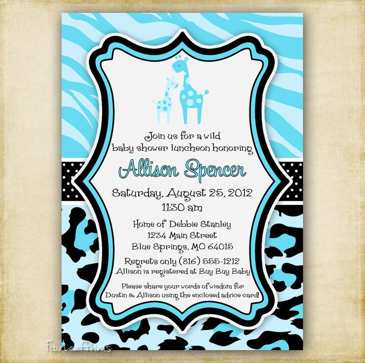 Zebra And Cheetah Print Baby Shower Invitations