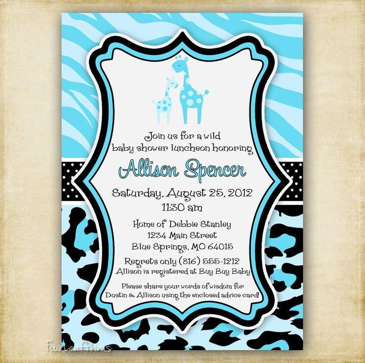 Zebra And Cheetah Print Baby Shower Invitations