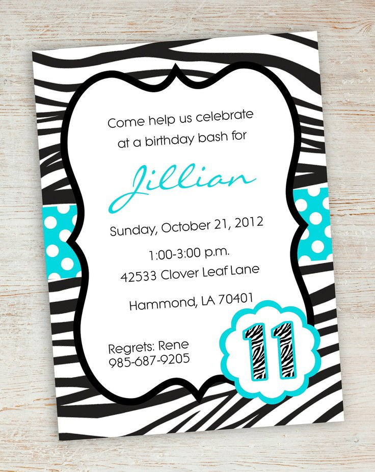 Zebra Birthday Invitations Printable