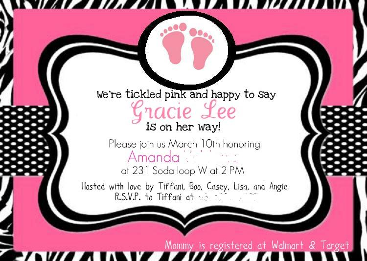 Zebra Girl Baby Shower Invitations