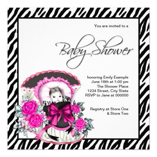 Zebra Print Baby Shower Invitations Templates