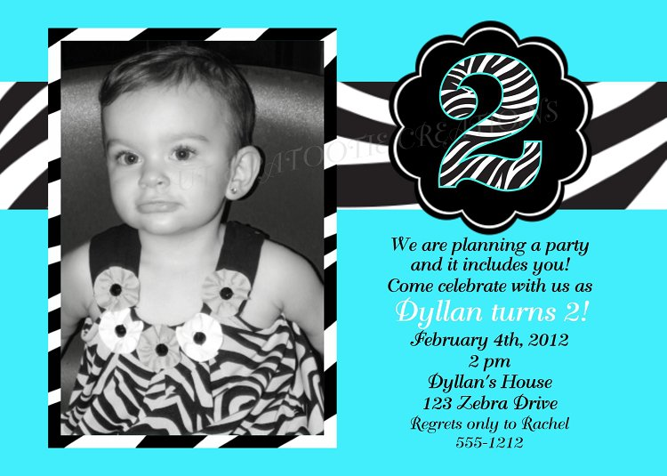 Zebra Print Birthday Invitations With Photo