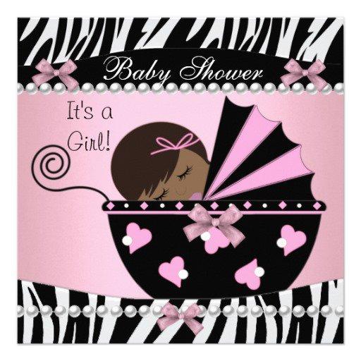 Zebra Print Girl Baby Shower Invitations