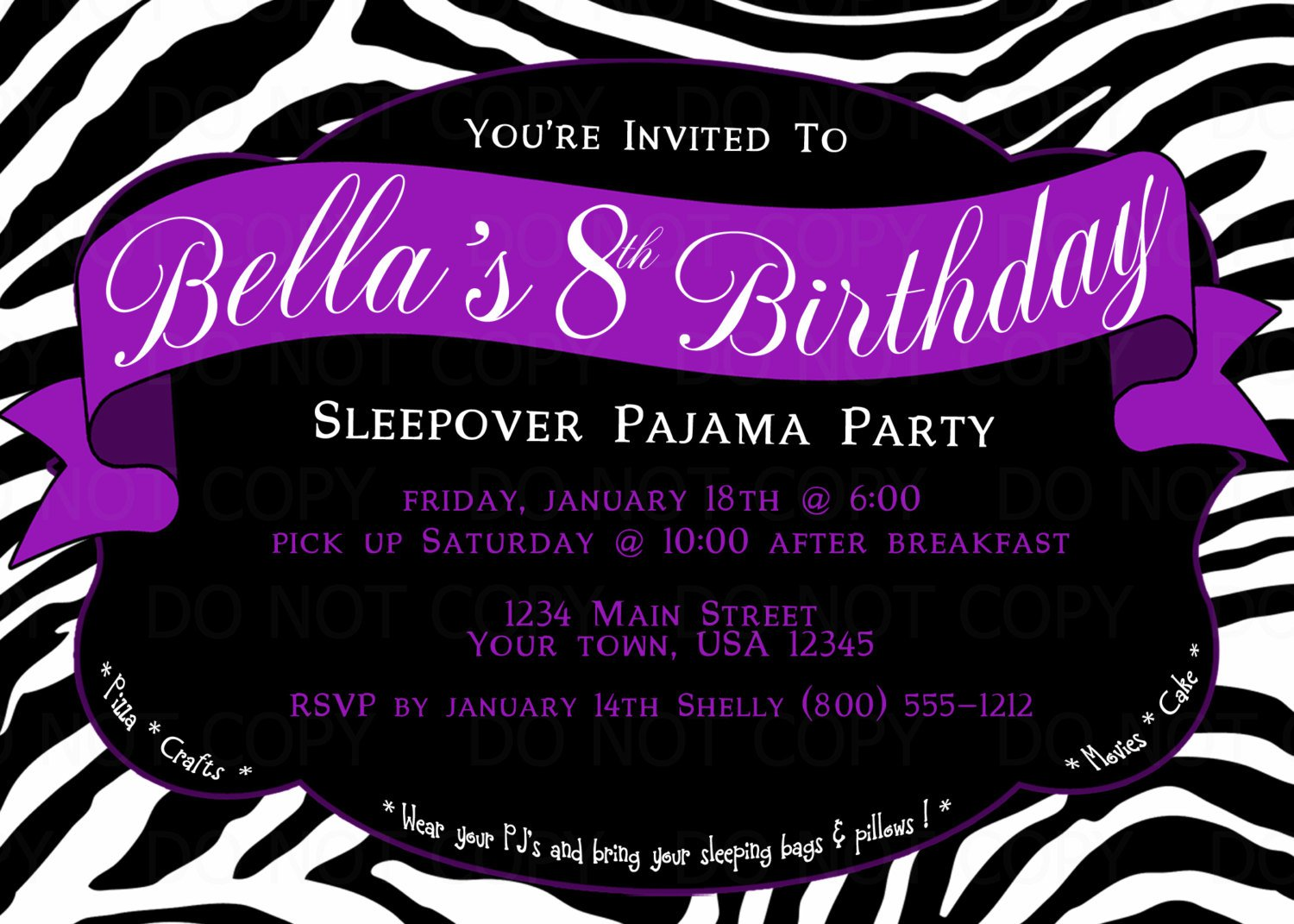 Zebra Print Party Invitations Printable