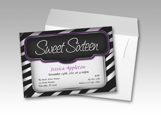 Zebra Print Sweet Sixteen Invitations