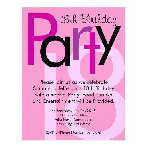 18th Birthday Invitations For Girls