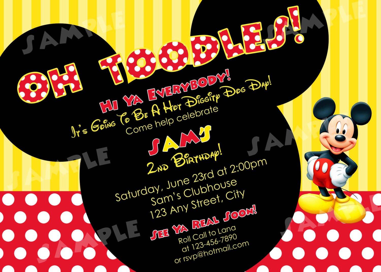 2nd Birthday Invitation Wording Mickey Mouse