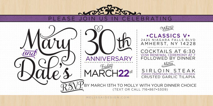 30 Anniversary Party Invitations