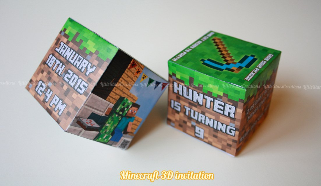 3d Minecraft Birthday Invitations