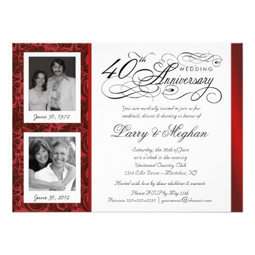 40 Year Anniversary Invitations