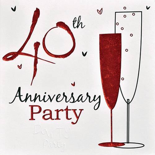 40 Year Wedding Anniversary Invitations