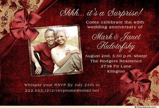 40th Anniversary Surprise Party Invitation Wording