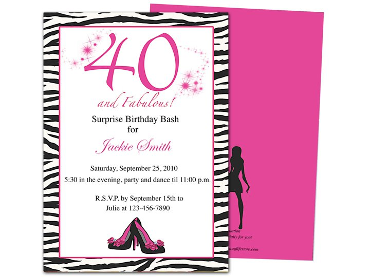 40th B Day Invitation Wording