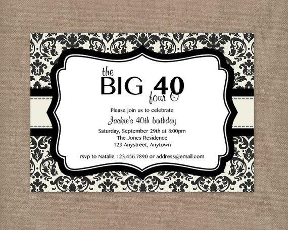 40th Birthday Invitations Free Printable