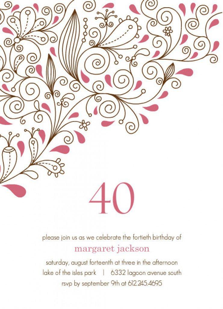 40th Birthday Invitations Printable