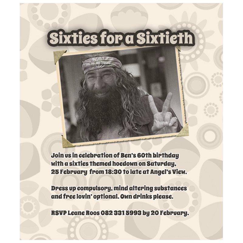 40th Party Invitation Hippie