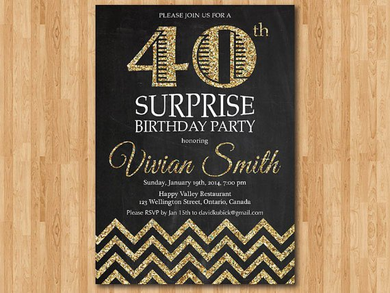 40th Surprise Party Invitation Wording