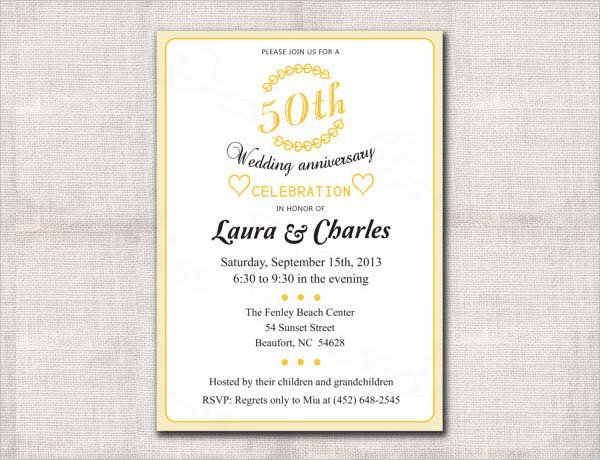 50th Wedding Invitation Templates: 50 Anniversary Invitation Templates