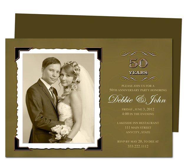 50th Wedding Anniversary Invitation Cards Templates